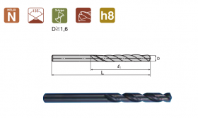 COBALT STRAIGHT SHANK DRILL L6522 D-6.8mm